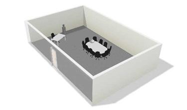 montaje de sala polivalente con mesa de reuniones y de dirección