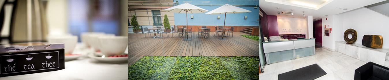 tríptico con coffe, jardín y recepción Centro de Negocios Melior Madrid